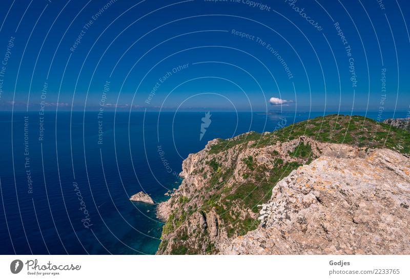 Point at Angelokastro III Landscape Water Sky Clouds Horizon Summer Grass Bushes Rock Waves Coast Ocean Mediterranean sea Corfu Tourist Attraction Gigantic
