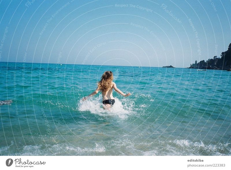 Vacation Human being Youth (Young adults) Beautiful Sun Vacation & Travel Ocean Summer Beach Freedom Hair and hairstyles Weather Skin Trip Running Tourism