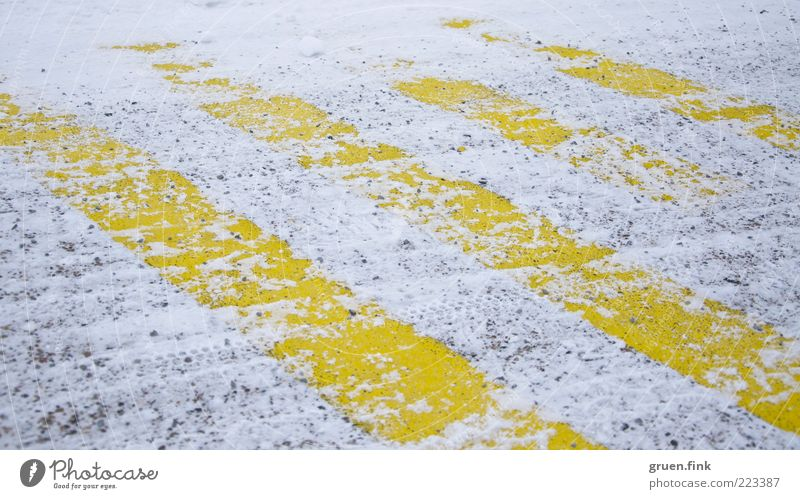 striped snow Winter Snow Street Aviation Airport Airfield Runway Yellow White Stripe Parallel Colour photo Exterior shot Close-up Deserted Day Worm's-eye view
