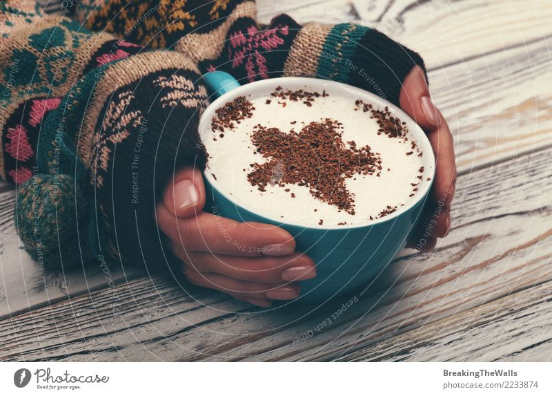 Woman hands hugging big cup of cappuccino coffee Human being Youth (Young adults) Young woman Blue White Hand Relaxation Calm Winter Adults Warmth Feminine