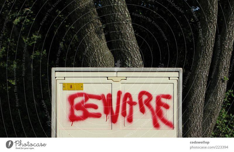 Red Gray Graffiti Fear Dangerous Characters Threat Sign Box Tree trunk Clue Tree bark Warn English Daub
