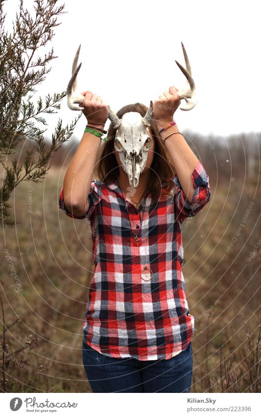 Human being Nature Meadow Death Cold Dream Fear Arm Wild animal Threat Uniqueness Jeans Animal face Mask Mysterious Thin