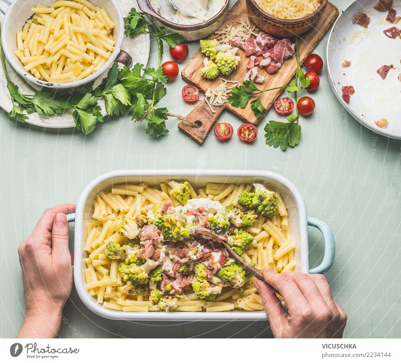 Female hands boil pasta gratin Food Nutrition Lunch Dinner Crockery Feminine Hand Design Style Broccoli Sauce Cooking Romanesco pasta bake Noodles Baked dish