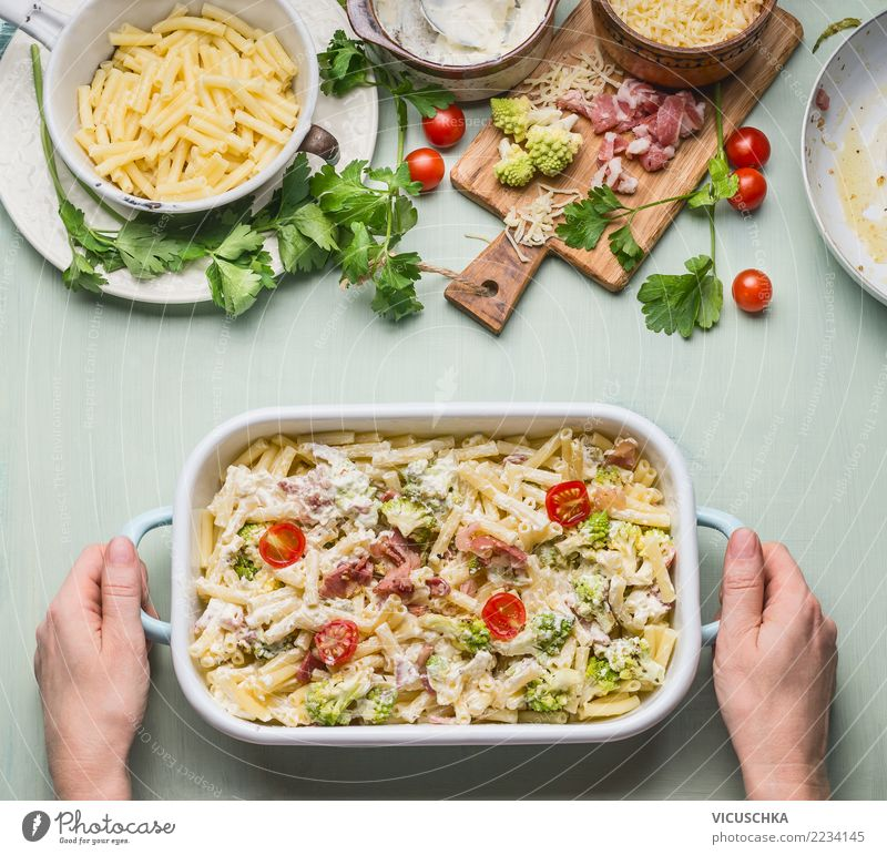 Pasta gratin with vegetables and ham Food Meat Vegetable Herbs and spices Nutrition Lunch Dinner Crockery Pot Style Design Table Kitchen Feminine Woman Adults