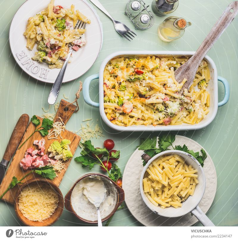 Mittageesn with pasta gratin with Romanesco cabbage and ham Food Vegetable Herbs and spices Nutrition Lunch Dinner Organic produce Plate Bowl Pot Cutlery Style