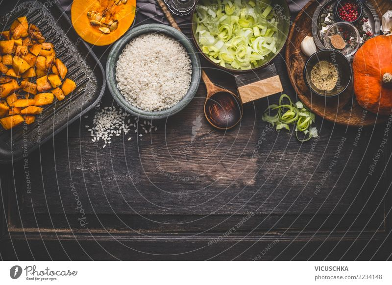 Ingredients for pumpkin risotto Food Vegetable Nutrition Lunch Dinner Organic produce Vegetarian diet Italian Food Crockery Bowl Pot Spoon Style Design