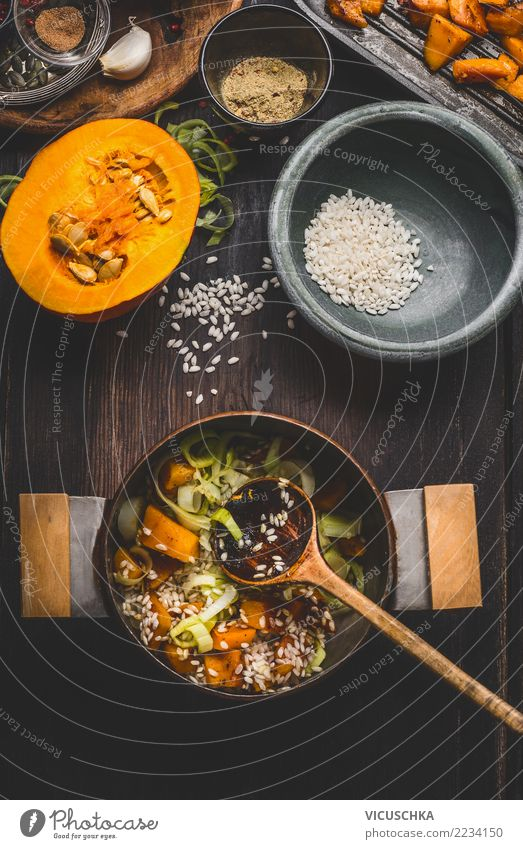 Pumpkin risotto boil Food Vegetable Grain Herbs and spices Nutrition Lunch Banquet Organic produce Vegetarian diet Diet Italian Food Bowl Pot Spoon Style
