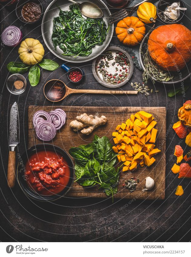 Vegetarian cooking with pumpkin Food Vegetable Herbs and spices Organic produce Vegetarian diet Diet Slow food Crockery Bowl Pot Knives Spoon Style Design