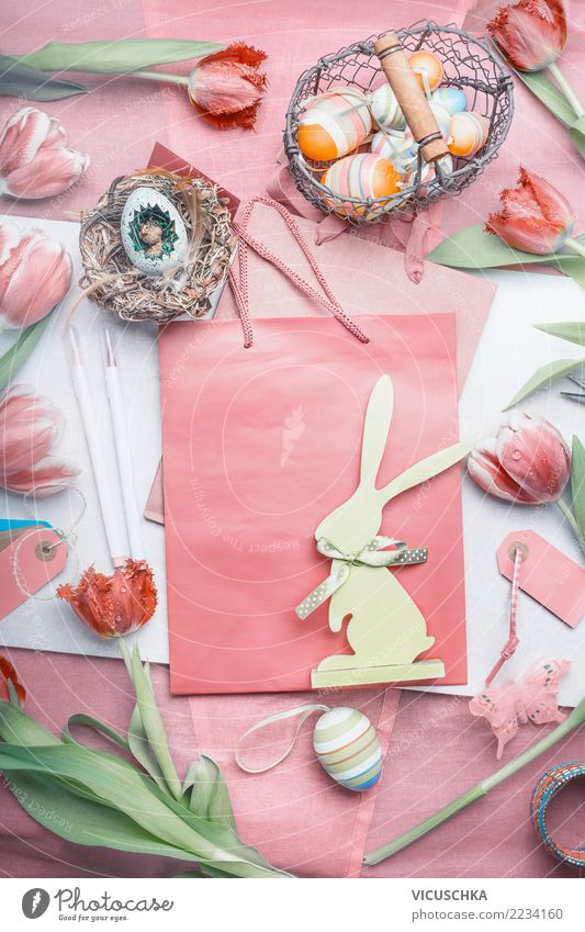 Easter decoration with tulips, eggs and bunnies Shopping Style Design Decoration Feasts & Celebrations Flower Tulip Bouquet Sign Pink Tradition
