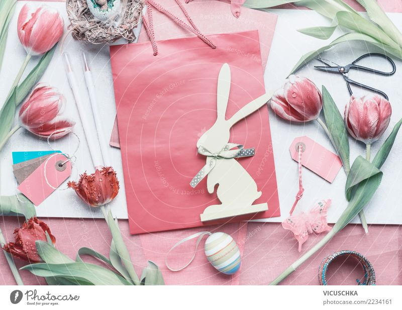 Easter Gift Wrapping Style Design Living or residing Decoration Feasts & Celebrations Spring Flower Tulip Sign Love Pink Tradition Background picture