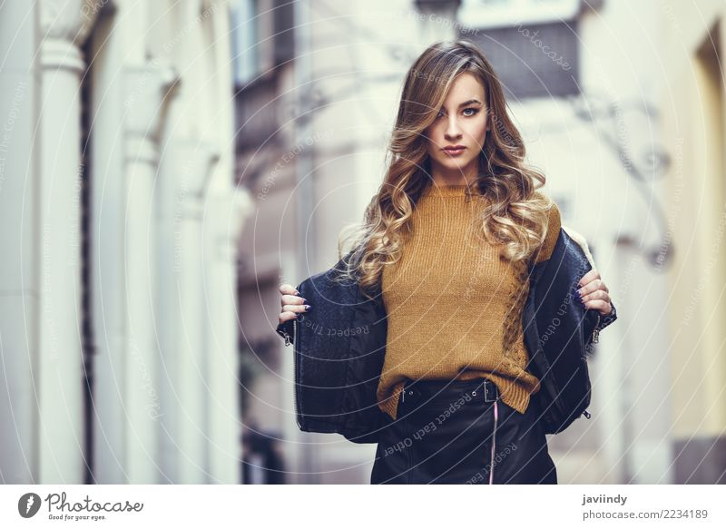 Blonde woman in urban background. Woman Human being Youth (Young adults) Young woman Beautiful White Winter 18 - 30 years Face Adults Street Lifestyle Autumn