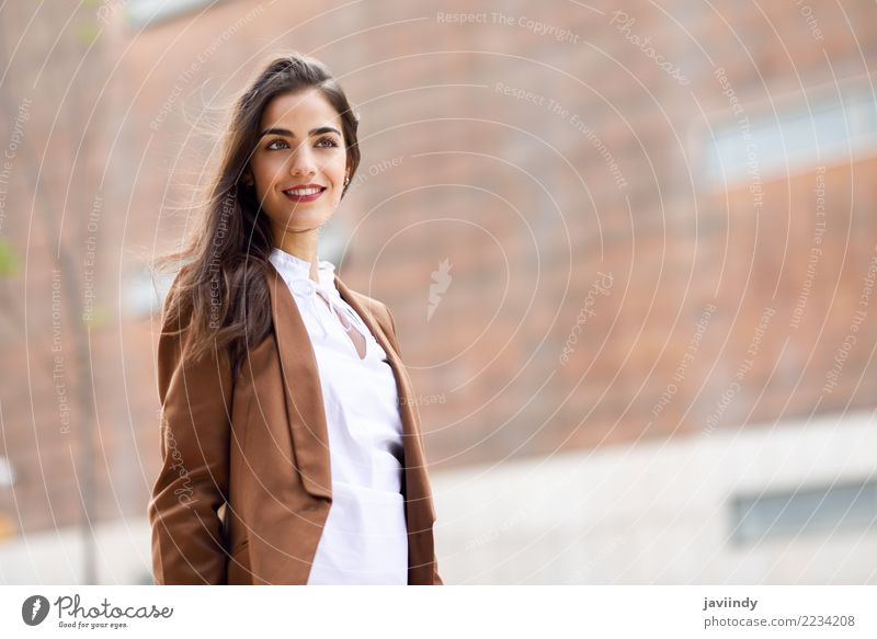 Young woman with nice hair standing outside of office building. Woman Human being Youth (Young adults) Beautiful 18 - 30 years Adults Feminine Building Happy
