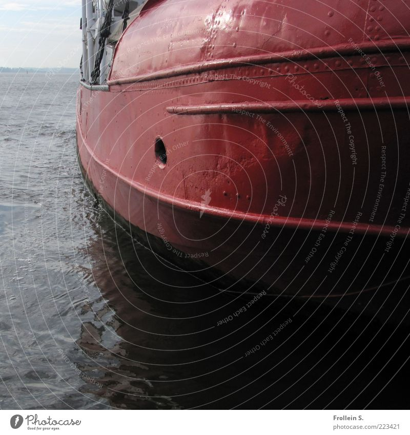 Water Red Black Dark Metal Brown Large River Round Elbe Bow Inland navigation Fire fighting ship