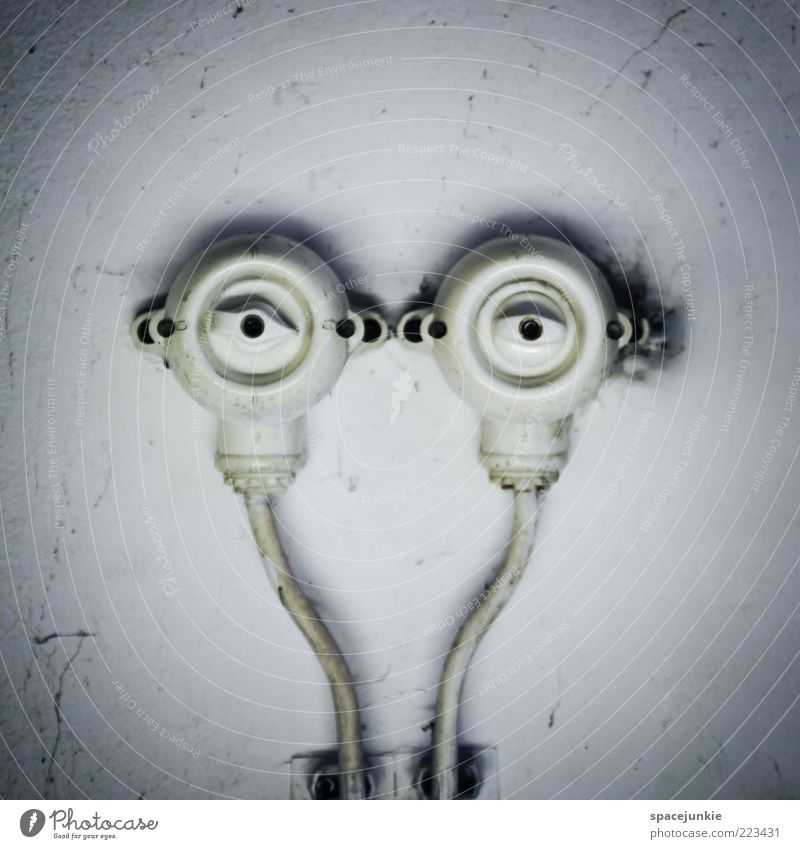 the observer Energy industry Energy crisis Looking Surrealism Electricity Cable Transmission lines Funny Humor Eyes Switch Light switch Wall (building) Cellar