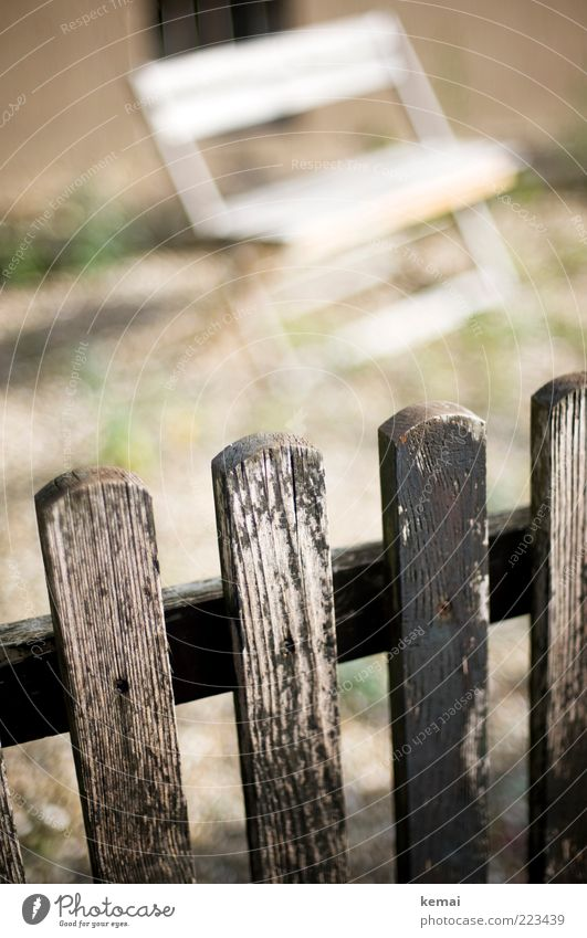 Over fence look Leisure and hobbies Bench Terrace Fence Fence post Wooden board lattice fence Wooden fence Old Authentic Bright White Weathered Flake off Cozy