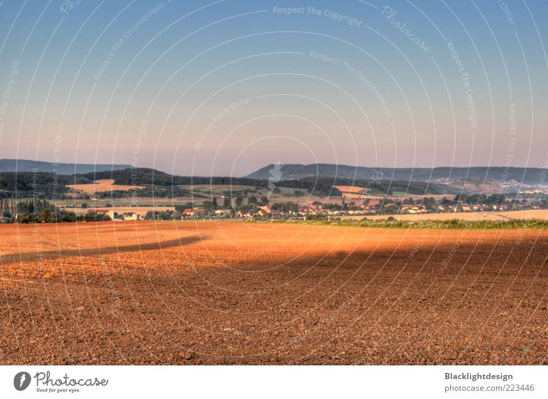 Sky Nature Blue Autumn Landscape Air Brown Horizon Field Earth Hill Village Beautiful weather Cloudless sky Town Thuringia