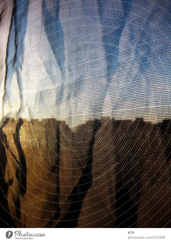 Blue House (Residential Structure) Yellow Building Net Wrinkles Skyline Vista Concealed Reflection Silhouette Wrinkled Translucent Fly screen