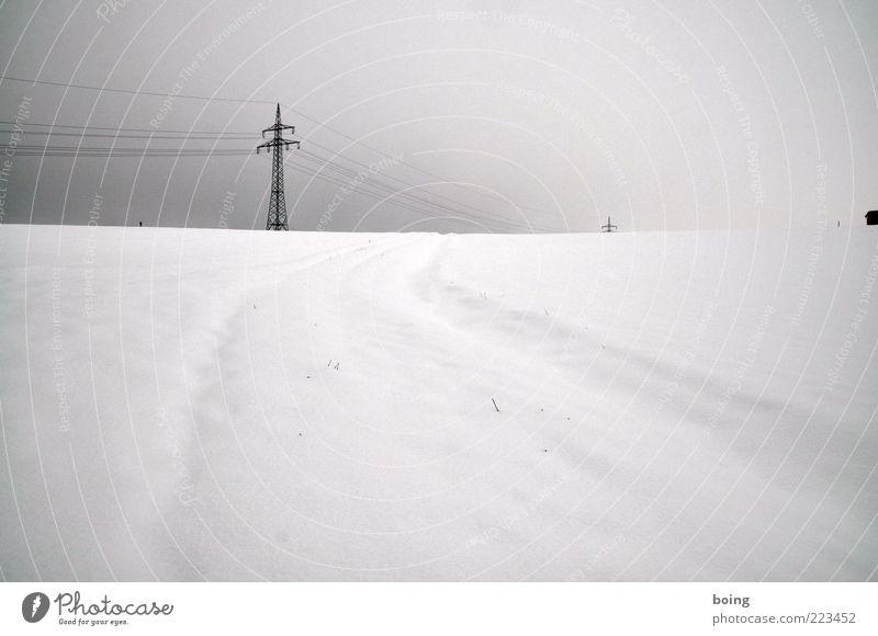 California Winter Snow Electricity pylon Black & white photo Exterior shot Deserted Tracks Snow layer High voltage power line Day
