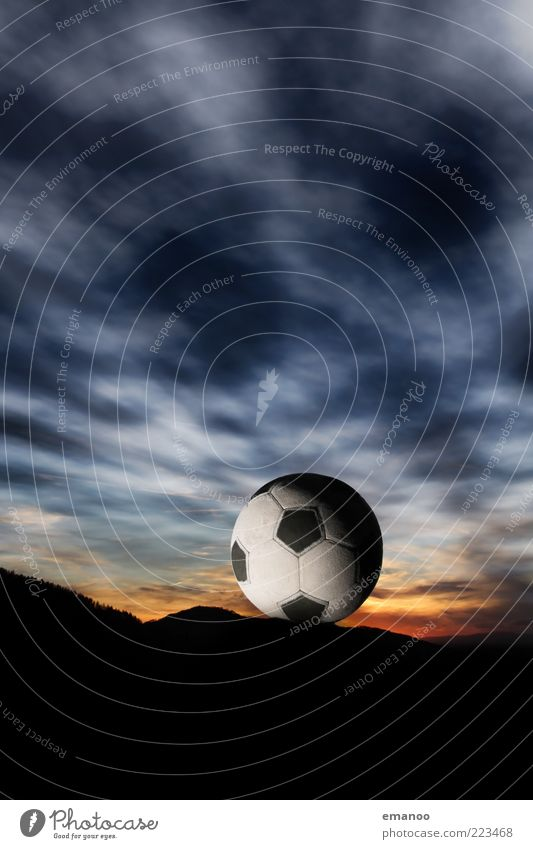 sky ball Sports Ball sports Foot ball Sky Clouds Sun Mountain Leather Playing Exceptional Dark Retro Round Blue Creativity Black Forest Freiburg im Breisgau