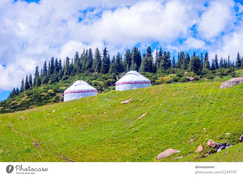 Yurts on green meadows, Kyrgyzstan Sky Nature Vacation & Travel Blue Summer Green White Landscape House (Residential Structure) Mountain Architecture