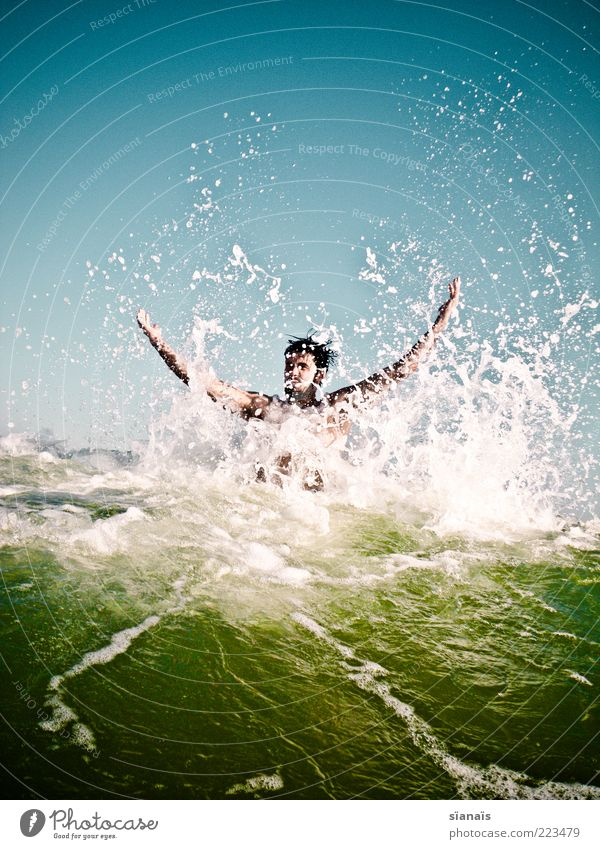 Human being Vacation & Travel Youth (Young adults) Man Water Summer Sun Ocean Joy Young man Far-off places Cold Adults Life Movement Playing