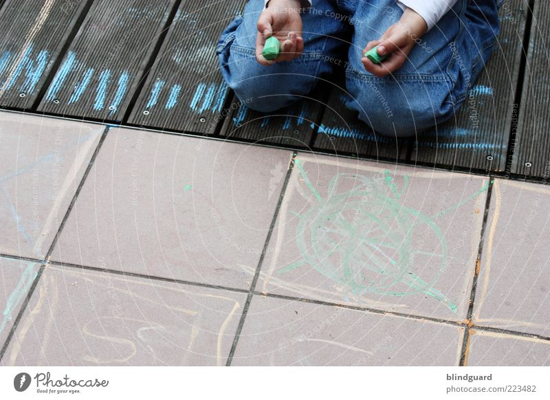 Human being Child Playing Boy (child) Wood Stone Infancy Leisure and hobbies Sit Study Masculine Characters Cloth Jeans To hold on