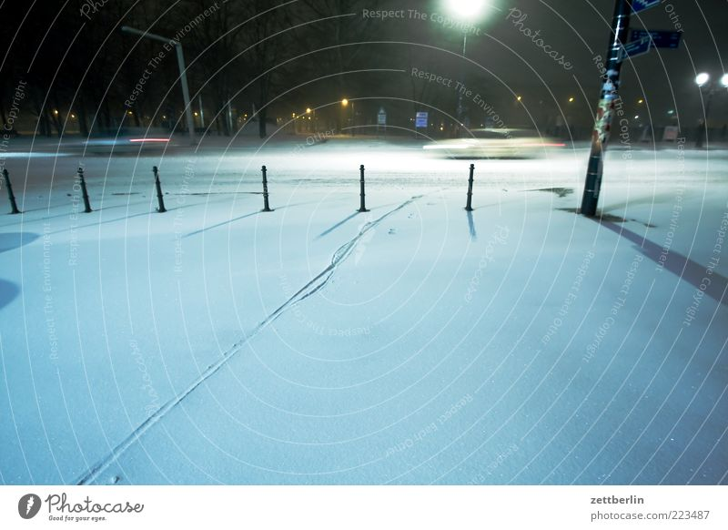winter Winter Weather Town Park Places Transport Street Car Dark Cold December Snow layer Tracks Long exposure Virgin snow Night journey Speed Colour photo