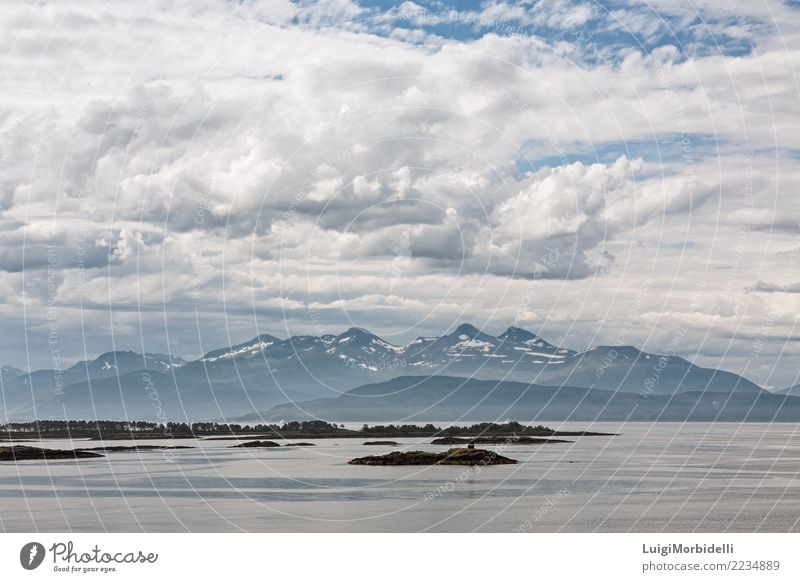 Mountain view with some islands in the fjord in Molde, Norway Vacation & Travel Summer Ocean Nature Landscape Sky Fjord Colour Horizon molde water Vantage point
