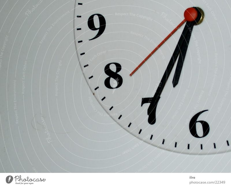 shortly after half Clock Time Clock face Digits and numbers 6 7 8 9 Living or residing Clock hand Detail