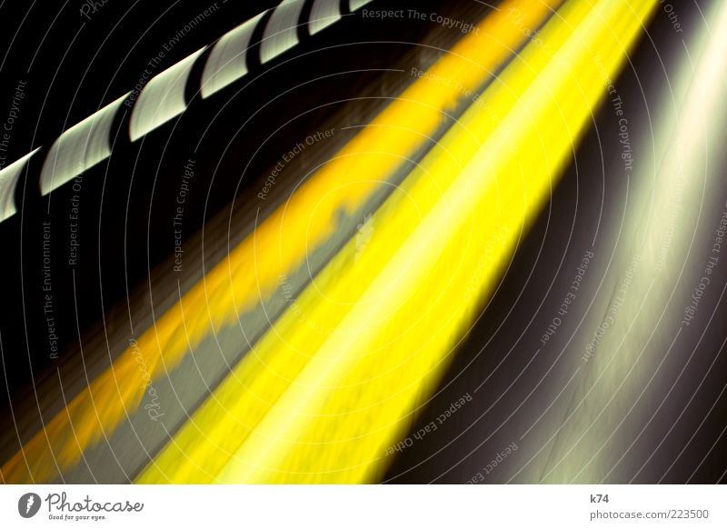 Yellow Window Movement Transport Speed Driving Illuminate Tunnel Underground Copy Space Abstract Train travel Public transit Rail vehicle
