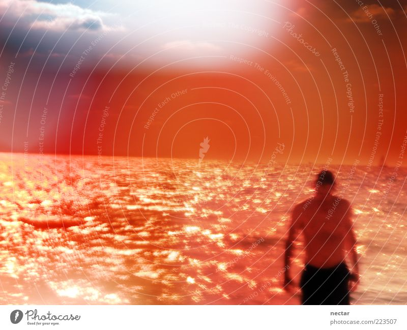 Human being Man Blue Water Beautiful Red Ocean Beach Adults Orange Horizon Waves Swimming & Bathing Glittering Masculine Rose glasses
