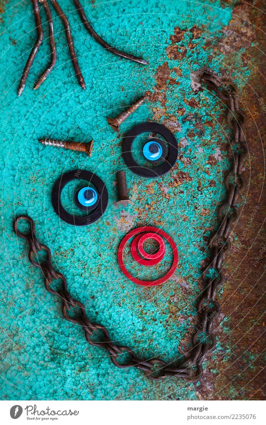 Emotions...cool faces: Collage Old love rusts.... Human being Masculine Feminine Androgynous Face Eyes Mouth 1 Brown Red Turquoise Rust Metal Circle Chain Nail