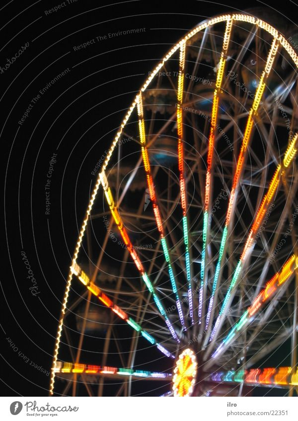 ferris wheel at night Fairs & Carnivals Night Ferris wheel Long exposure Multicoloured Rotate Leisure and hobbies Colour fair