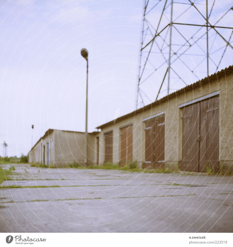 untitled 5 Energy industry Summer Grass Outskirts Deserted Building Architecture Wall (barrier) Wall (building) Door Stone Concrete Metal Rust Gloomy Lantern