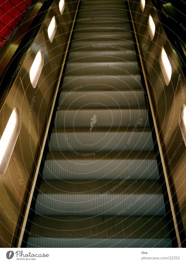 escalator Escalator Iron Steel Electrical equipment Technology Stairs Upward Lanes & trails Downward Lighting