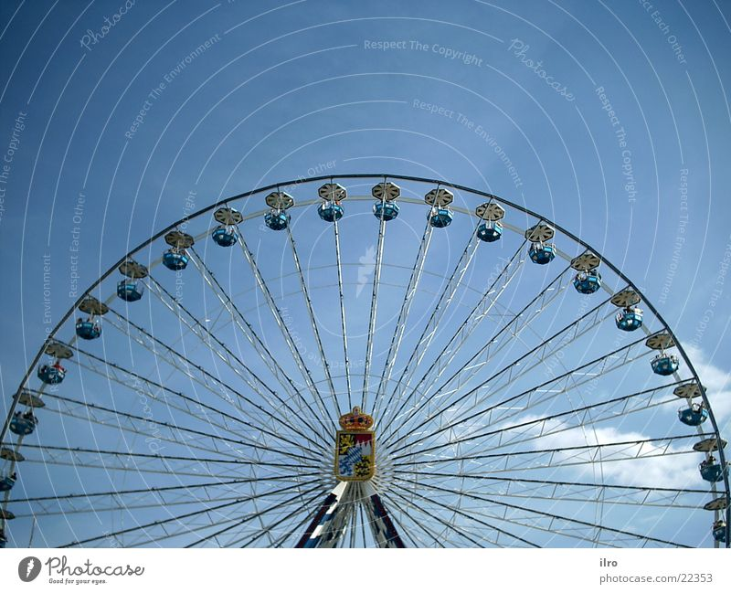 Ferris wheel Fairs & Carnivals Leisure and hobbies Round Electrical equipment Technology Tall carousel Bavarian Blue