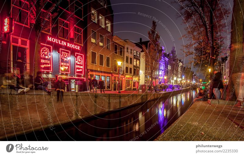 Moulin Rouge and red light district in Amsterdam at night Lifestyle Exotic Joy Vacation & Travel Tourism Trip Freedom City trip Night life Entertainment Bar