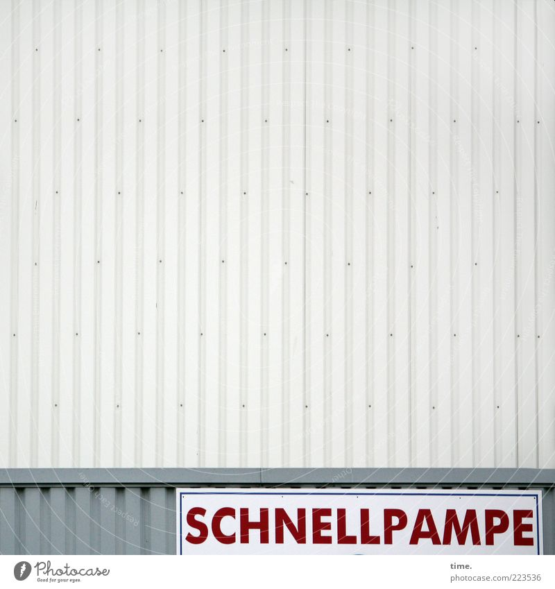 Red Wall (building) Gray Building Exceptional Nutrition Signs and labeling Speed Letters (alphabet) Whimsical Parallel Warehouse Vertical Storage Strange Clue
