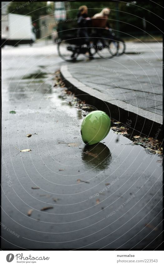 Human being City Street Autumn Environment Rain Small Glittering Wind Wet Transport Lifestyle Lie Climate Balloon Round