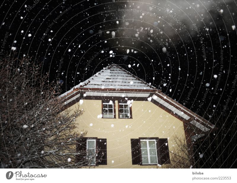 The snow trickles quietly Winter Snow Snowfall House (Residential Structure) Detached house Hut Facade Black White Calm Bizarre Snowflake Precipitation Clouds