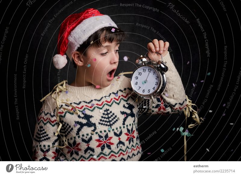 surprised child in New Year's Eve Child Human being Christmas & Advent Joy Lifestyle Emotions Movement Happy Feasts & Celebrations Party Masculine Infancy