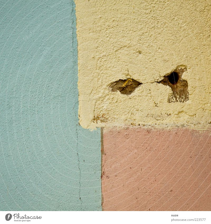 Face Yellow Eyes Wall (building) Wall (barrier) Art Exceptional Pink Design Corner Simple Division Hollow Plaster Graphic Geometry