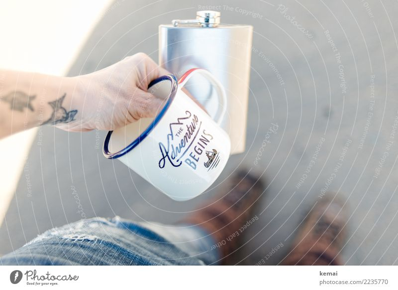 The adventure begins Alcoholic drinks Spirits Mug flask Enamel Lifestyle Well-being Contentment Leisure and hobbies Vacation & Travel Trip Adventure Freedom