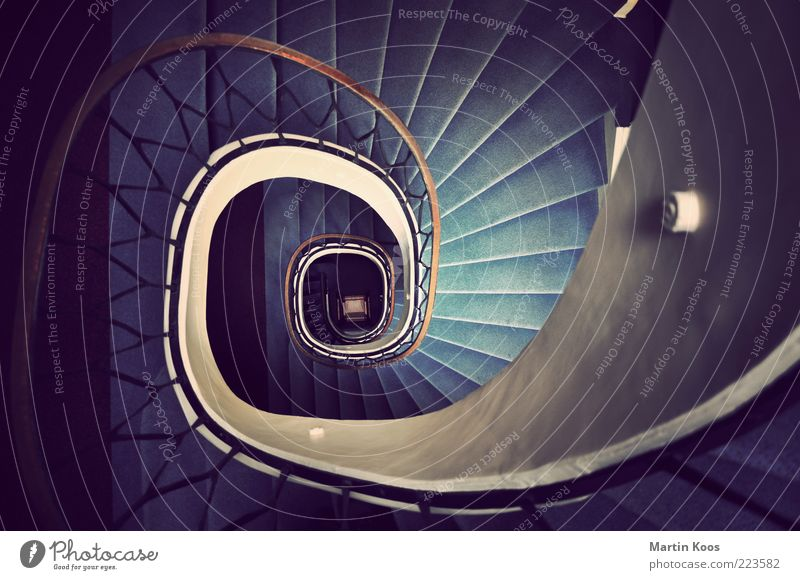 back and forth Architecture Stairs Ornament Old Round Banister Snail Staircase (Hallway) Carpet Line Deep Downward Spiral Downward trend Curve Winding staircase