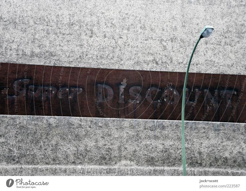 City Wall (building) Wall (barrier) Gray Stone Authentic Retro Stripe Change Street lighting Firm Word Advertising Nostalgia Plaster Street art