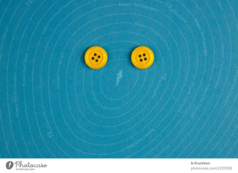 Blue Joy Face Eyes Yellow Contentment 2 In pairs Sign Plastic Buttons Smiley