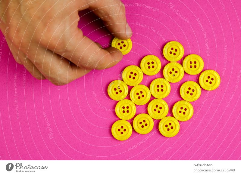 Man Hand Adults Religion and faith Yellow Pink Together Masculine Fingers Might To hold on Many Collection Select Buttons Few