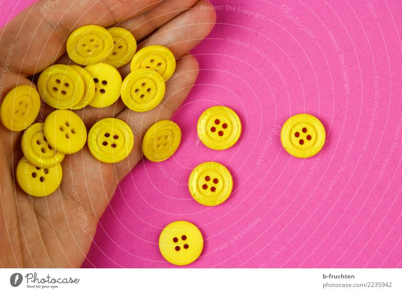 Man Hand Joy Adults Yellow Pink Fingers Touch To hold on Many Plastic Surprise Inspiration Buttons Few Numbers