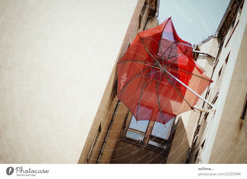 loitering backyard tensioner House (Residential Structure) Building Old building Backyard Umbrella Broken Town Red Clamp Get stuck Colour photo Exterior shot