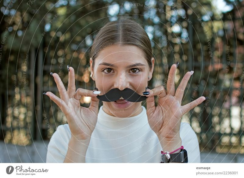 Crazy Young woman Lifestyle Joy Beautiful Face Carnival Human being Feminine Androgynous Youth (Young adults) Facial hair Moustache To enjoy Smiling Laughter